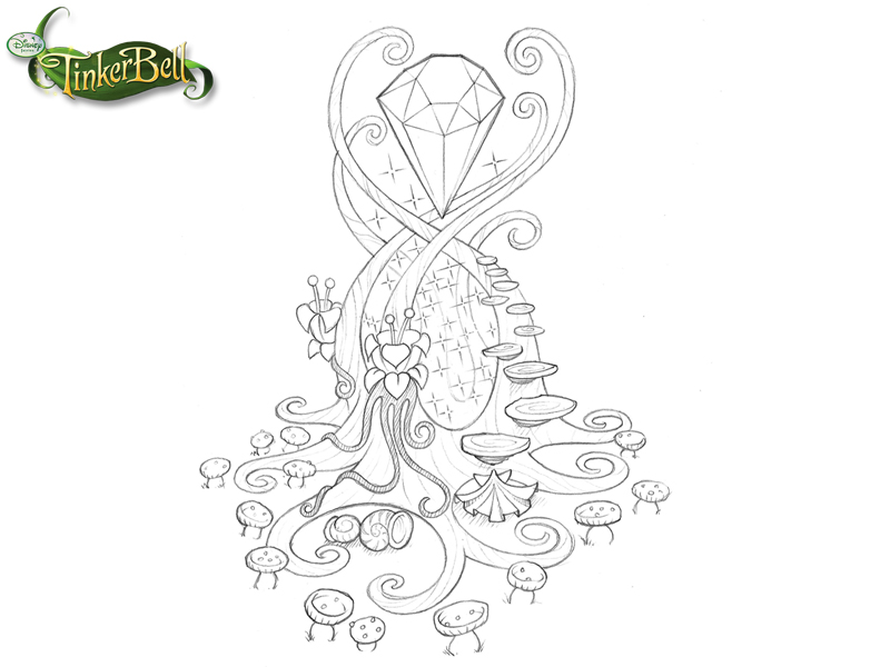 disney_puzzle_kingdom_tinkerbell_crystal_tower_sketch
