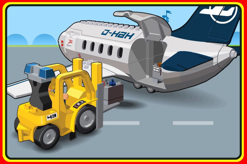 lego airport loading illustration
